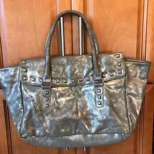 Bags - 👛2/$15 Large Metallic Silver Gray Satchel